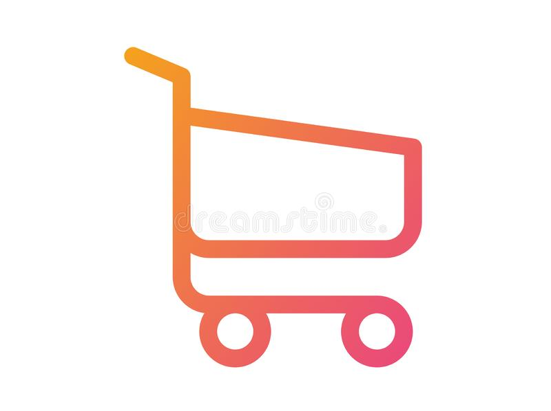 Gradient vector interface online checkout shopping cart line flat icon stock illustration