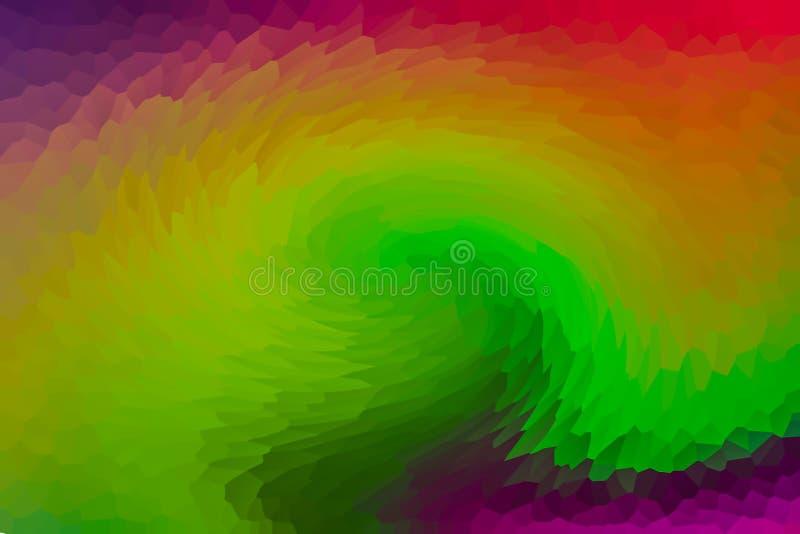Gradient vert jaune de mélange bas coloré de tunnel facetté par résumé à facettes multiples de fond avec les bords roses oranges  illustration stock