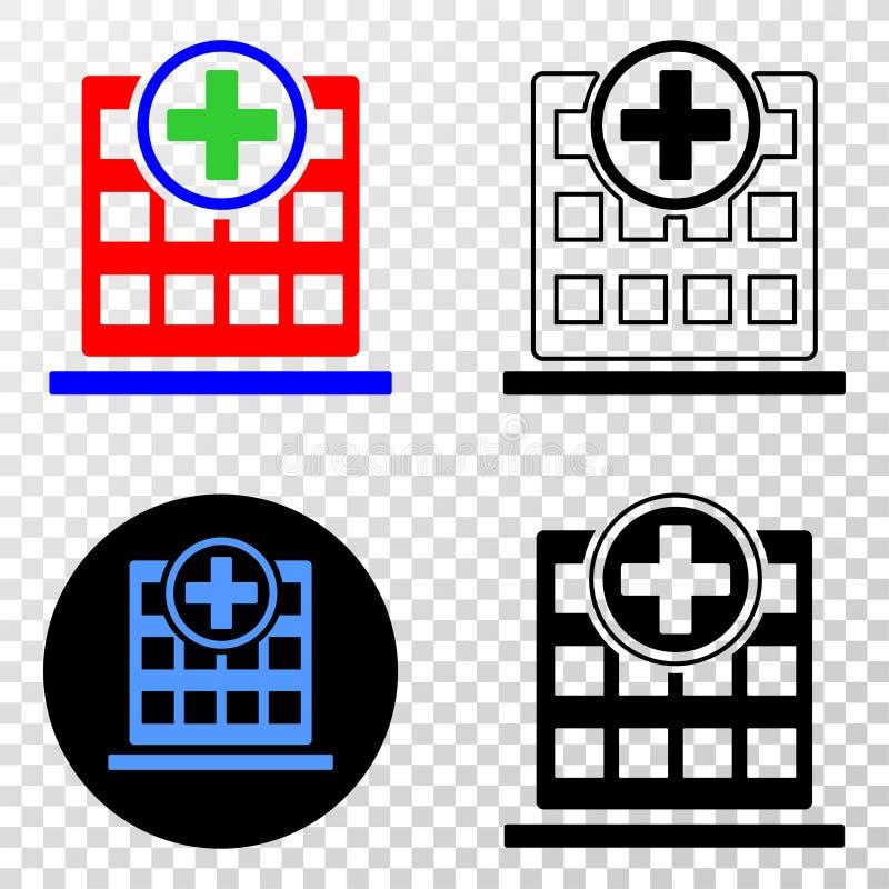 Gradiented拼贴画加点了医院大厦和Grunged邮票 皇族释放例证