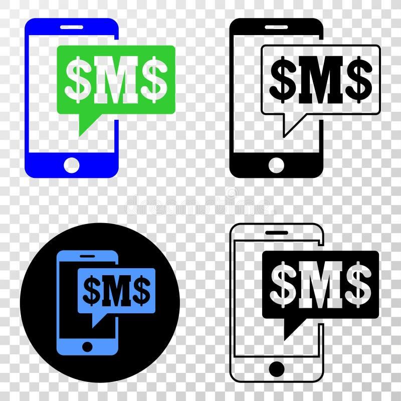 Gradiented拼贴画加点了电话Sms云彩和Grunged邮票 向量例证
