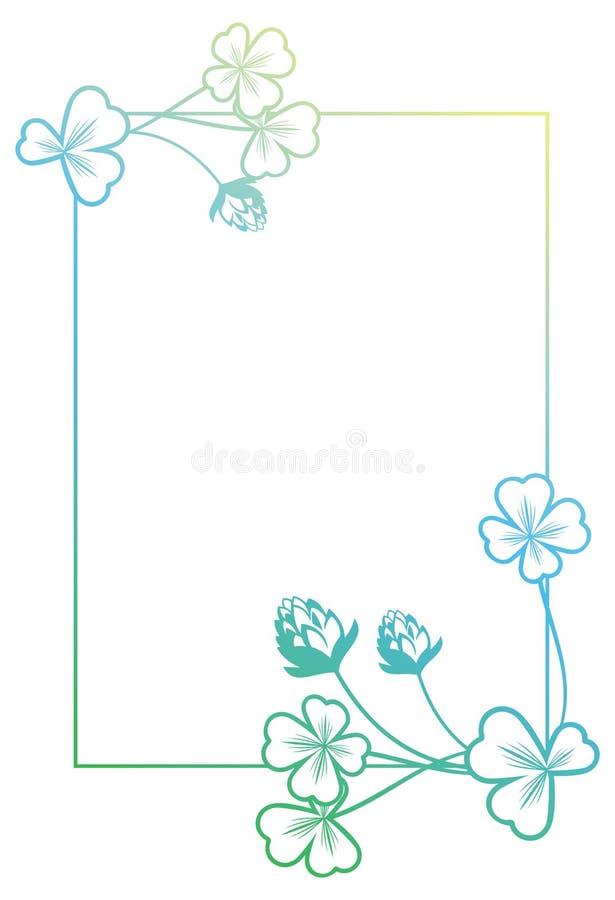 Gradientowa kolor rama z shamrock konturem Raster klamerki sztuka zdjęcia royalty free