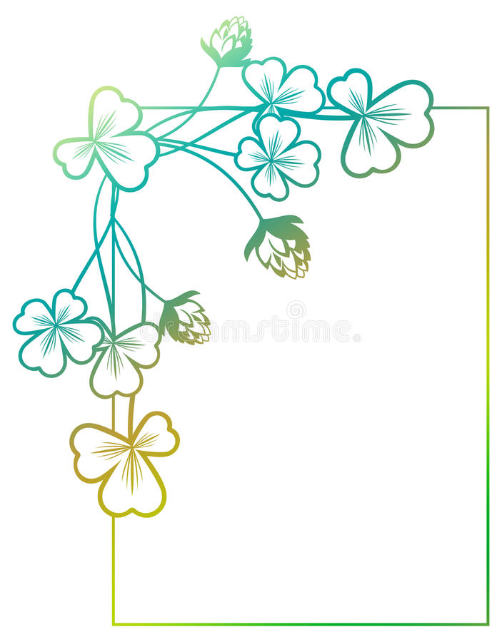 Gradientowa kolor rama z shamrock konturem Raster klamerki sztuka fotografia stock