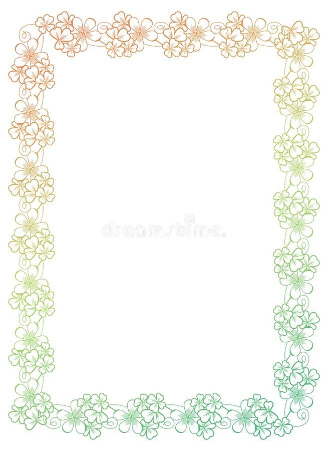 Gradientowa kolor rama z shamrock konturem Raster klamerki sztuka obraz stock