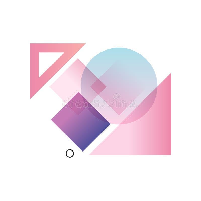 Gradientowe geometryczne formy w błękita, menchii i purpur kolorach, kolorowy abstrakcjonistyczny projekt dla etykietki, prezenta ilustracji