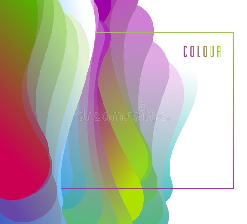 Gradientowego koloru 3D rzadkopłynnego kształta wektorowy abstrakcjonistyczny tło, dynamiczny dimensional projekta element w ruch royalty ilustracja