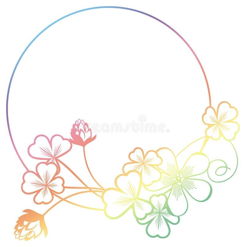 Gradientowego koloru round rama z shamrock konturem Raster klamerka ar fotografia stock