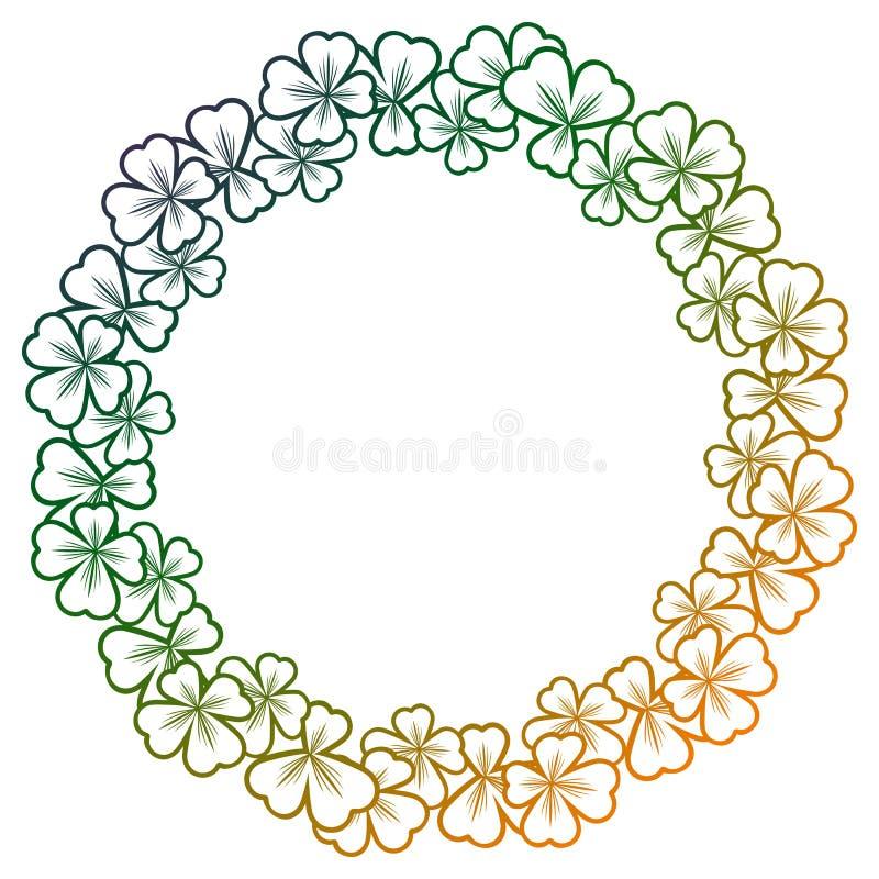 Gradientowego koloru round rama z shamrock konturem Raster klamerka ar zdjęcia royalty free