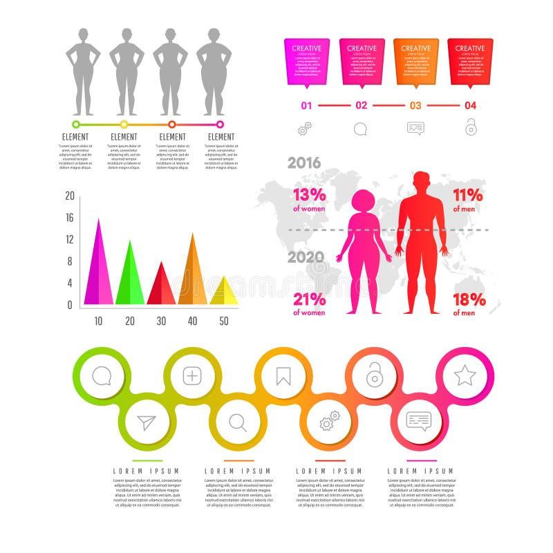 Gradientowi płascy infographic elementów ludzie, diagramy, prostokąty z tekstem, okrążają elementy royalty ilustracja