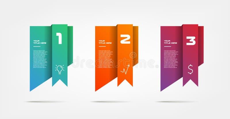 Gradientowy infographics krok po kroku Element mapa, wykres, diagram z 3 opcjami - części, procesy, linie czasu ilustracja wektor