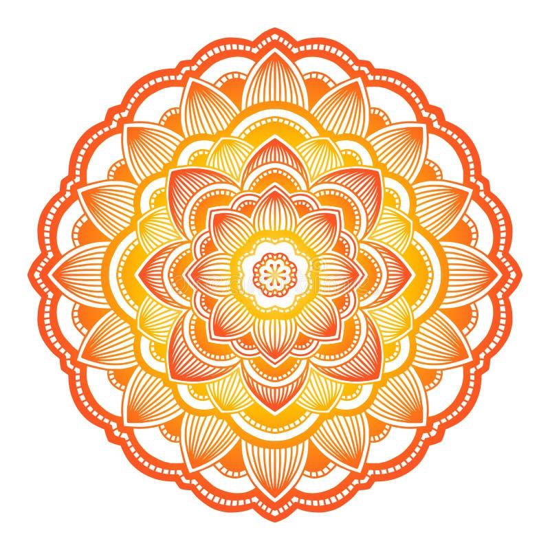 Gradientowy mandala Okręgu etniczny ornament Ręka rysujący tradycyjny indyjski round element Duchowa medytacji joga henna royalty ilustracja