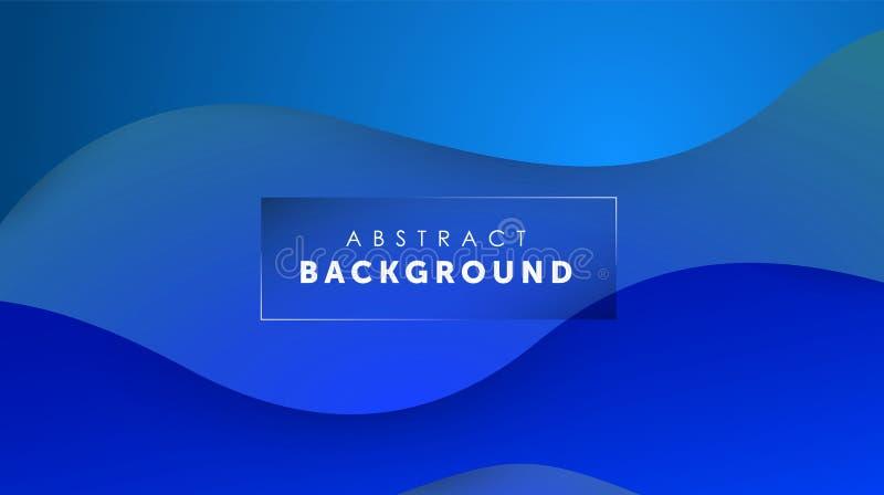 Gradientowy rzadkopłynny błękitny koloru tło Ciecz kształtuje futurystycznego pojęcie Kreatywnie falista tapeta Projekt dla sztan ilustracji