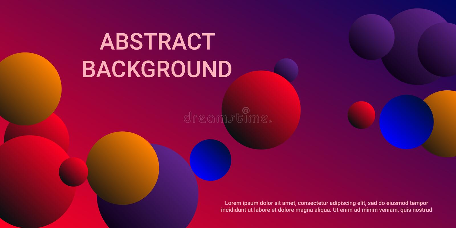 Gradients of balls shapes. Minimal coating design. Vector geometric illustration. Halftone, 3d. Abstract background of blue, purple, red, yellow gradients vector illustration