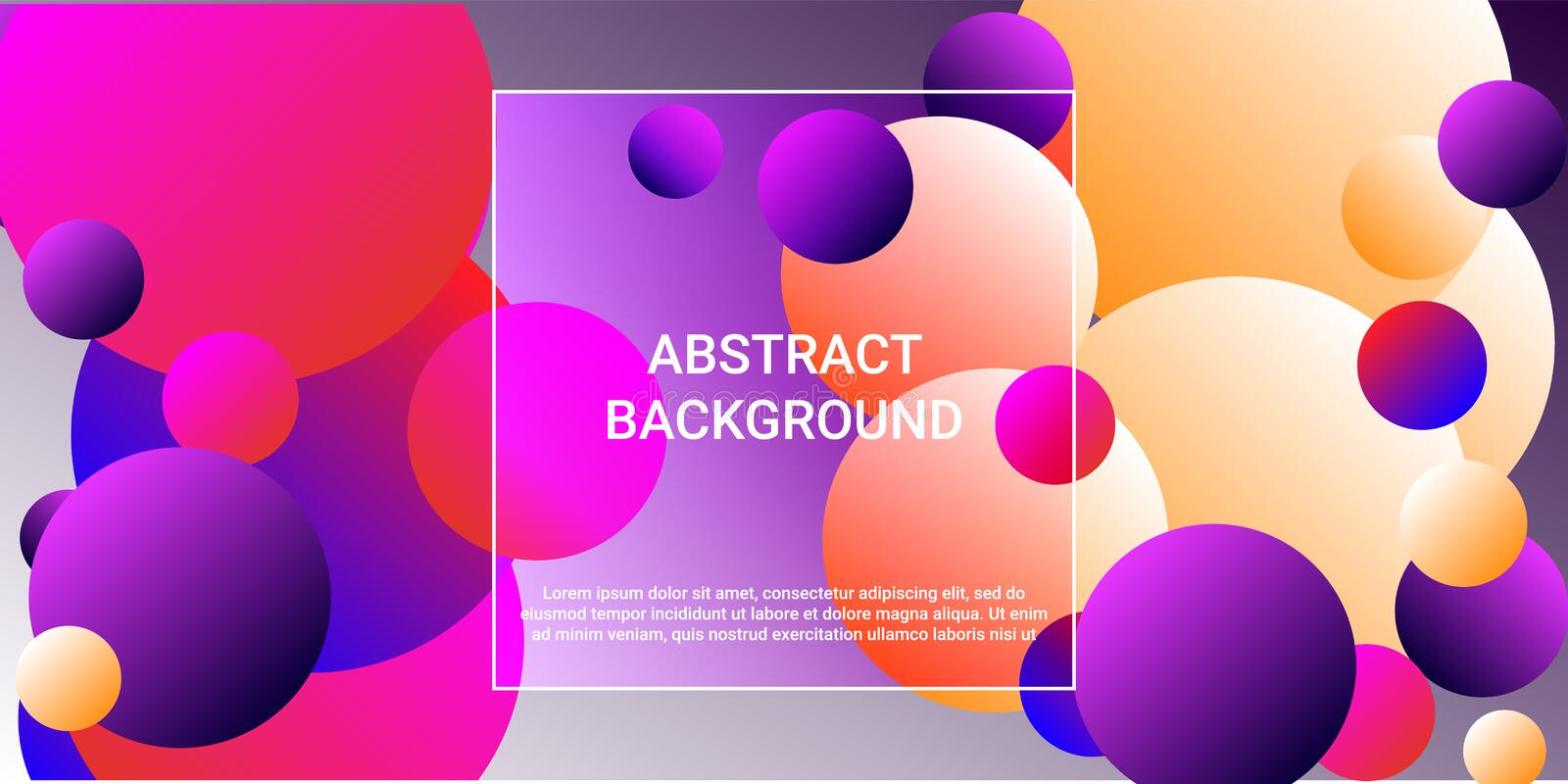 Gradients of balls shapes. Modern design of coverages. Vector geometric illustration. Halftone, 3d. Abstract background of blue, purple, red, yellow gradients royalty free illustration