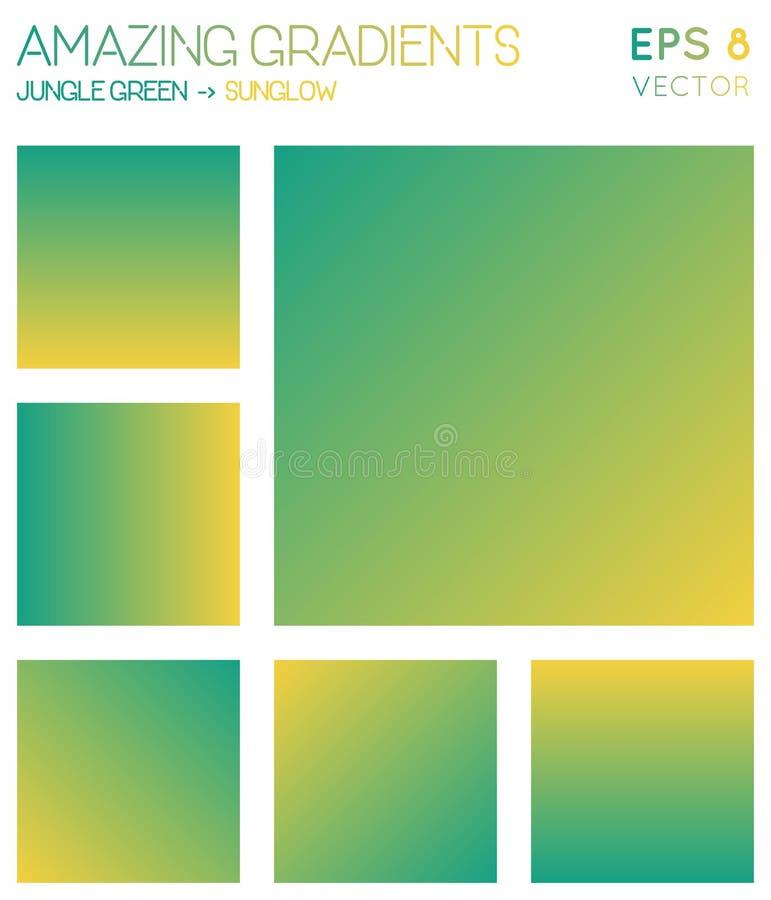 Gradients colorés en vert de jungle, couleur de sunglow illustration de vecteur
