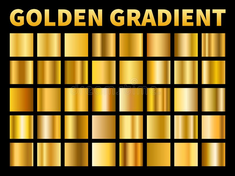 Gradients d'or ?chantillons de gradient de lustre en m?tal de places d'or, cadre jaune m?tallique vide de plat, texture de label  illustration de vecteur