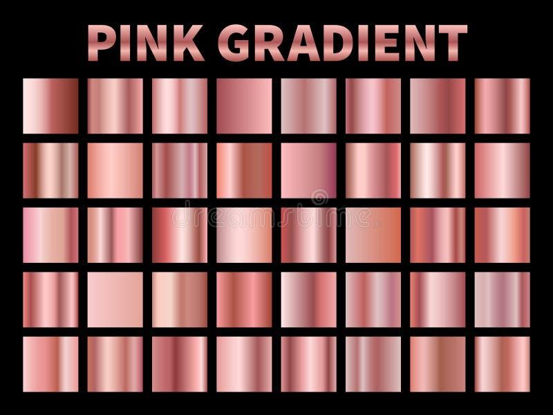 Gradients métalliques roses Aluminium rose d'or de gradient, label métallique de couverture de ruban de cadre de frontière de pla illustration de vecteur