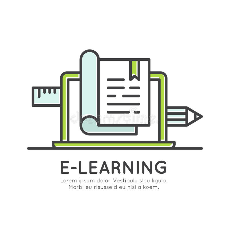 Grado de aprendizaje en línea electrónico de la graduación, información de la distancia, material del estudio, conocimiento de In ilustración del vector