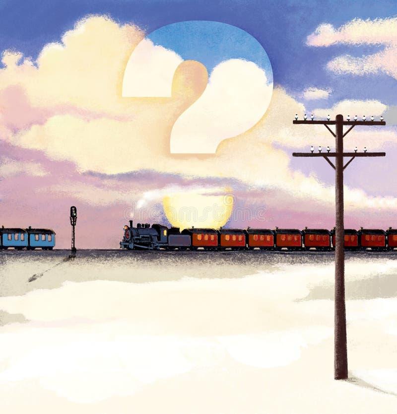 Grado de dos locomotoras de vapor retras con los carros en el fondo de una puesta del sol en las nubes Signo de interrogación com stock de ilustración