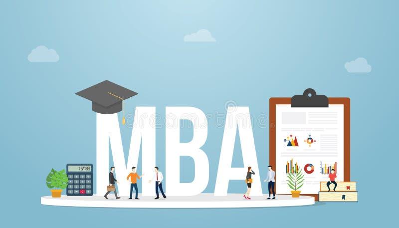 Grado de la educación del concepto del negocio del master en administración de empresas del Mba con la gente del equipo y gráfico stock de ilustración