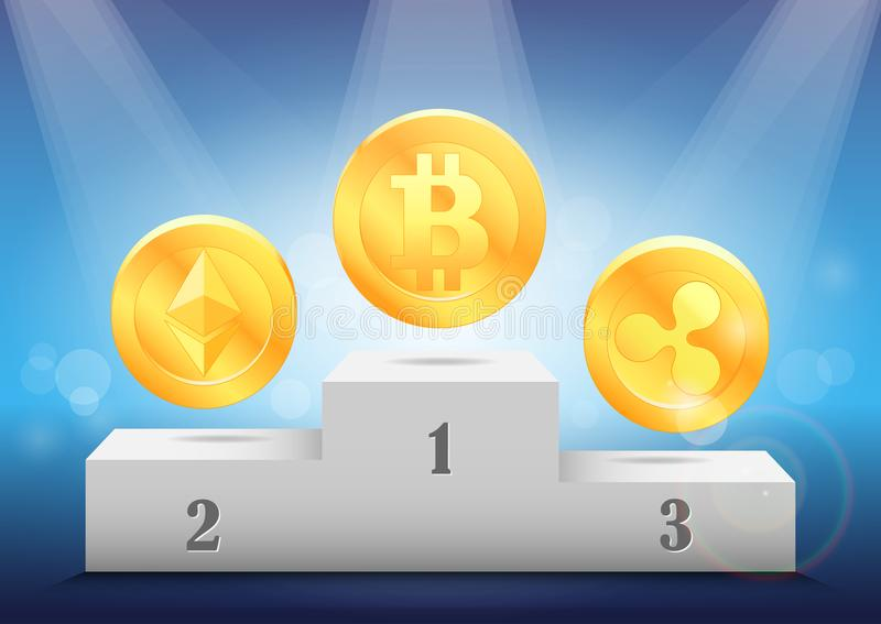 Grado de la moneda crypto Conceder monedas virtuales: bitcoin, ethereum, ondulación imágenes de archivo libres de regalías