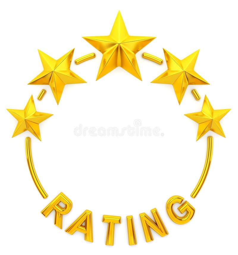 Grado de oro de la estrella cinco ilustración del vector