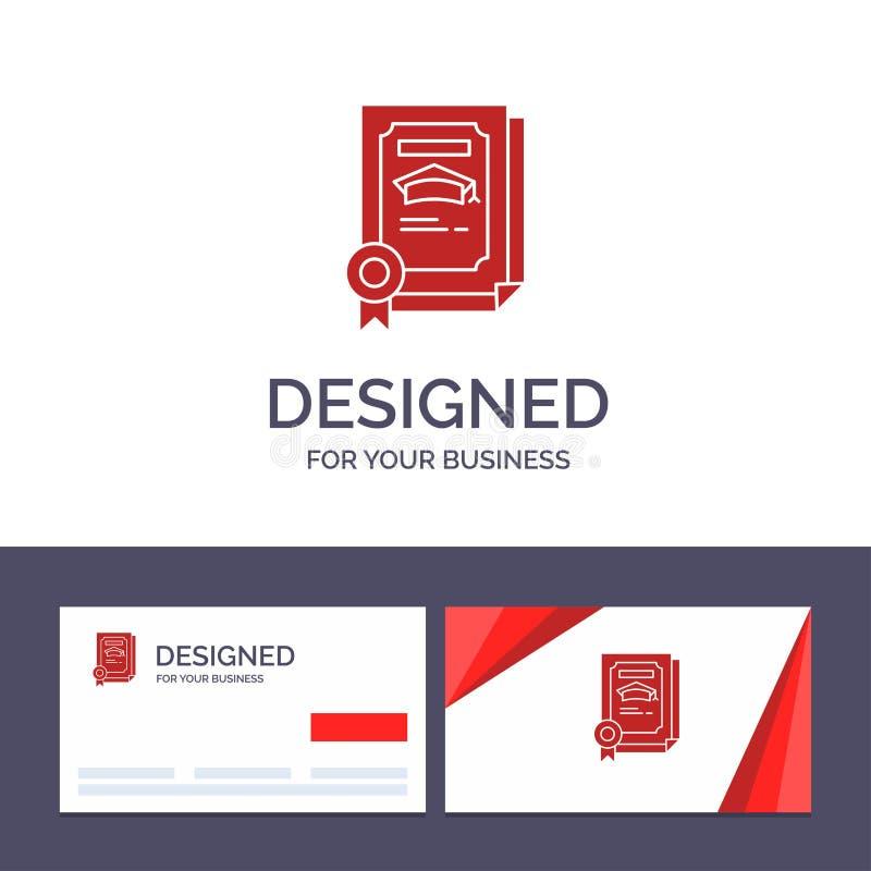 Grado de visita de la plantilla creativa de la tarjeta y del logotipo, logro, certificado, ejemplo graduado del vector ilustración del vector