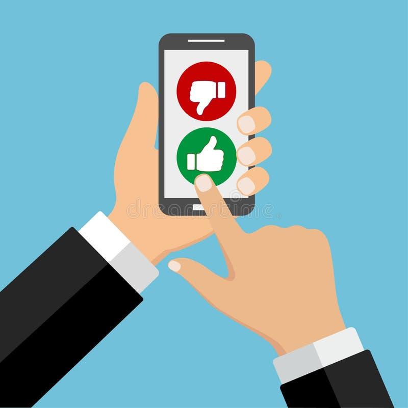 Grado del app móvil Una mano sostiene un botón del ` de la tarifa del ` de la prensa del smartphone y del finger libre illustration