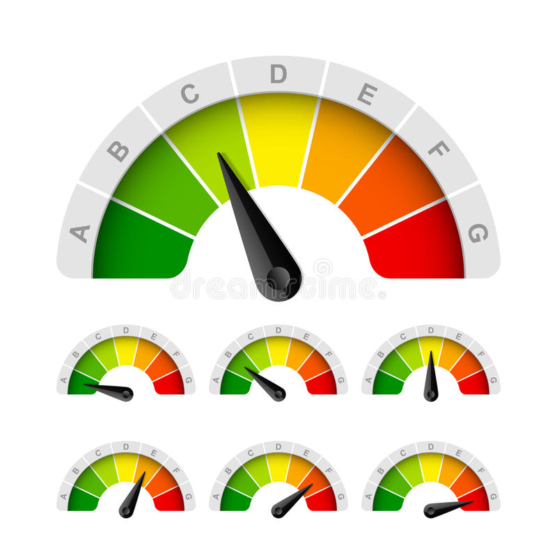 Grado del rendimiento energético stock de ilustración