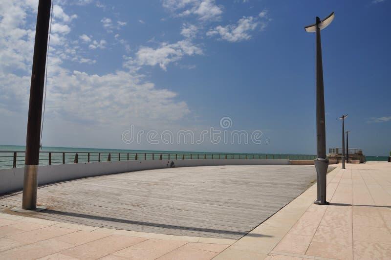 Grado, Italy. Empty seaside promenade. Grado, Friuli Venezia Giulia, Italy. Sea front pedestrian promenade. Adriatic sea royalty free stock photos