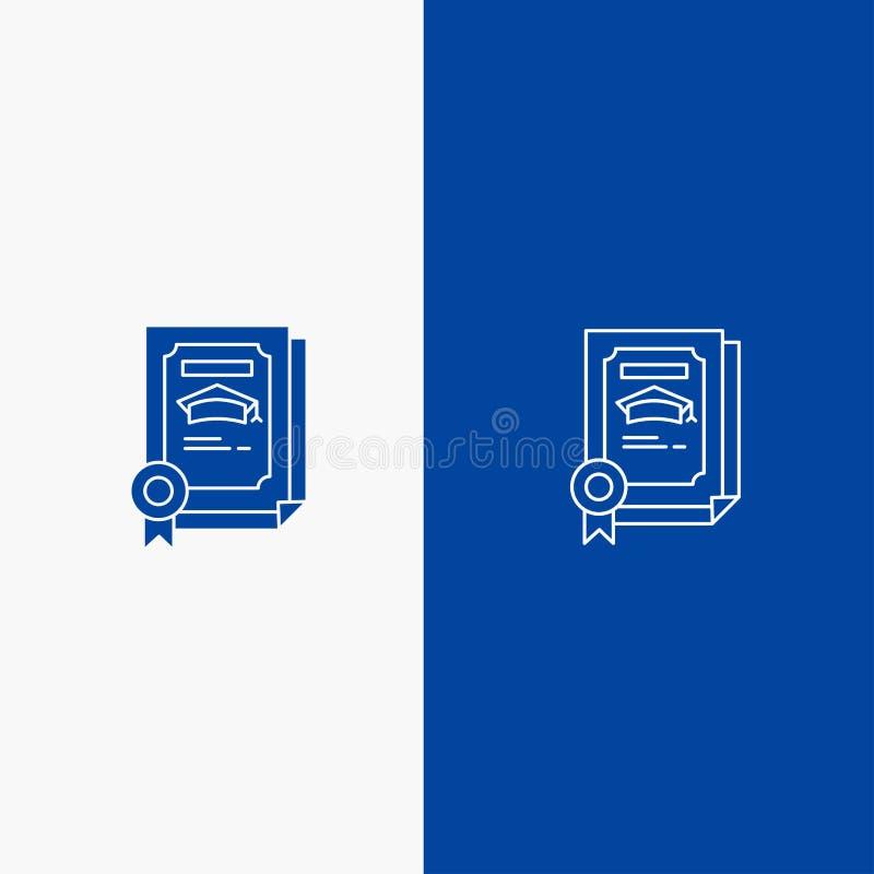 Grado, logro, certificado, bandera azul de bandera del icono sólido graduado de la línea y del Glyph del icono sólido azul de la  ilustración del vector