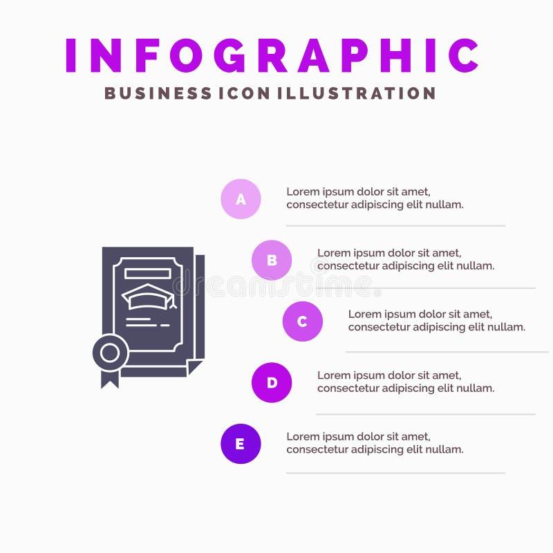 Grado, logro, certificado, fondo sólido graduado de la presentación de los pasos de Infographics 5 del icono stock de ilustración
