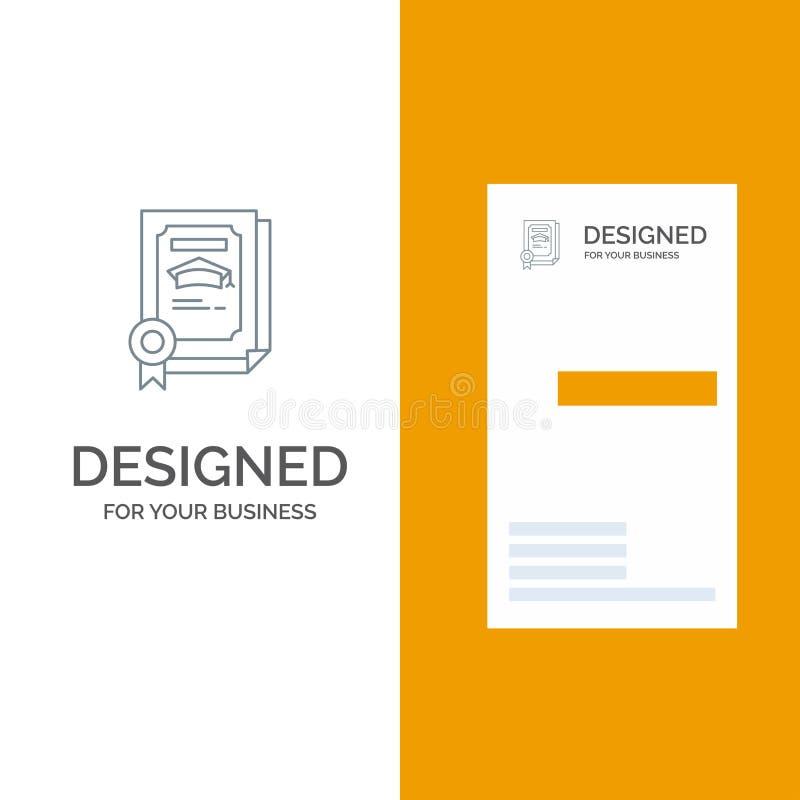 Grado, logro, certificado, graduado Grey Logo Design y plantilla de la tarjeta de visita stock de ilustración