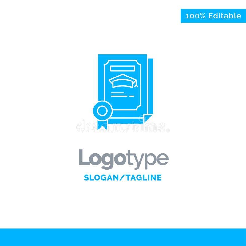Grado, logro, certificado, Logo Template sólido azul graduado Lugar para el Tagline libre illustration