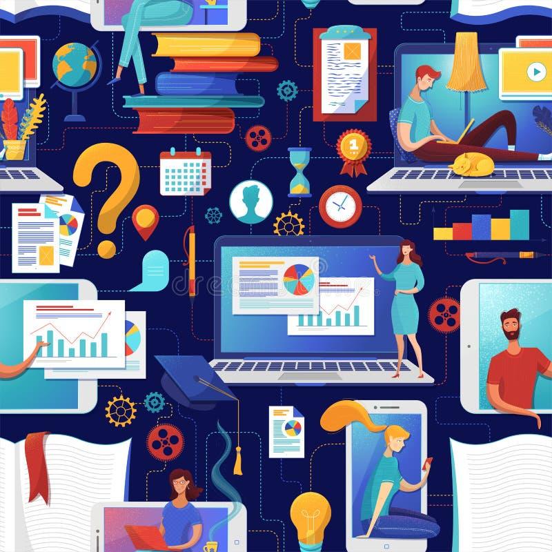 Grado plano de educación en línea, patrón transparente libre illustration