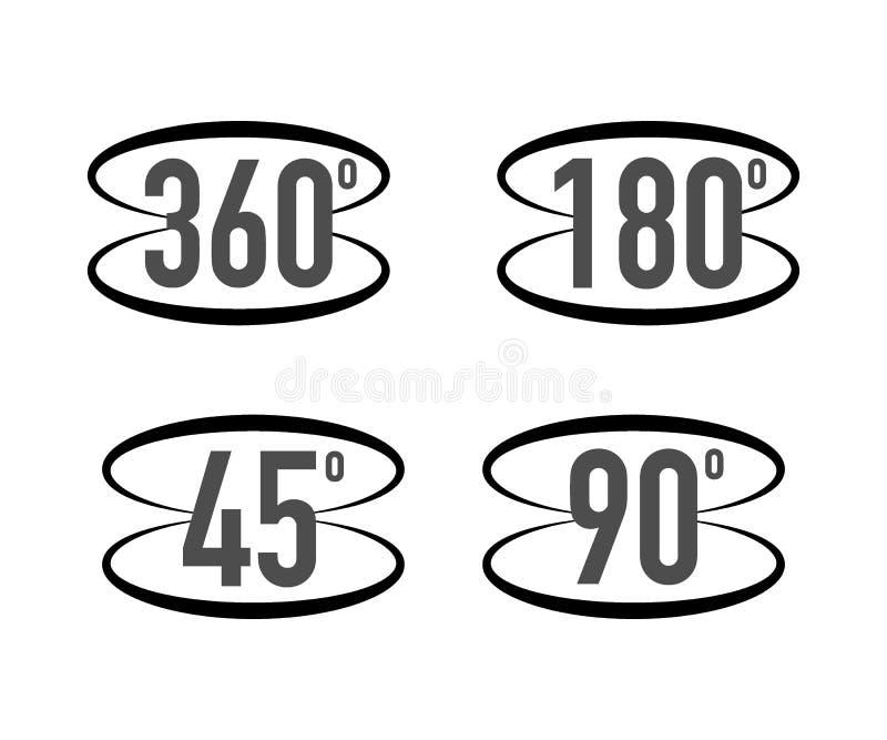 360 grados de la visi?n de icono de la muestra Muestras con las flechas de indicar la rotaci?n o los panoramas a 360 grados Ilust stock de ilustración