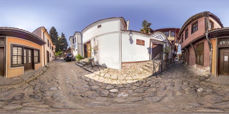 360 grados de panorama de la ciudad vieja en Plovdiv, Bulgaria fotografía de archivo libre de regalías