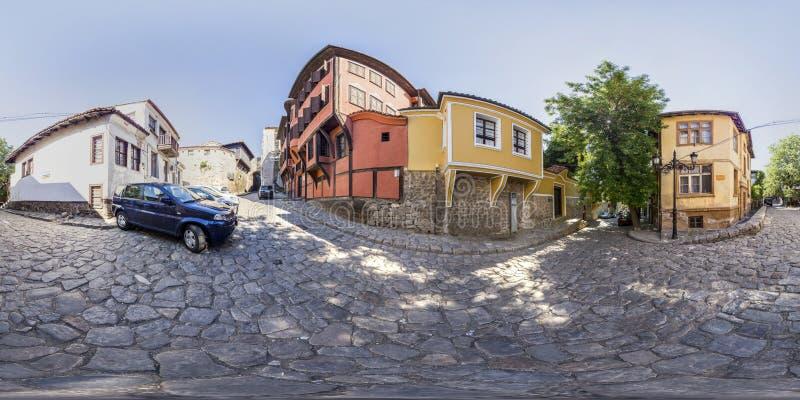 360 grados de panorama del Casa-museo Nedkovich en Plovdiv, Bulga fotografía de archivo libre de regalías