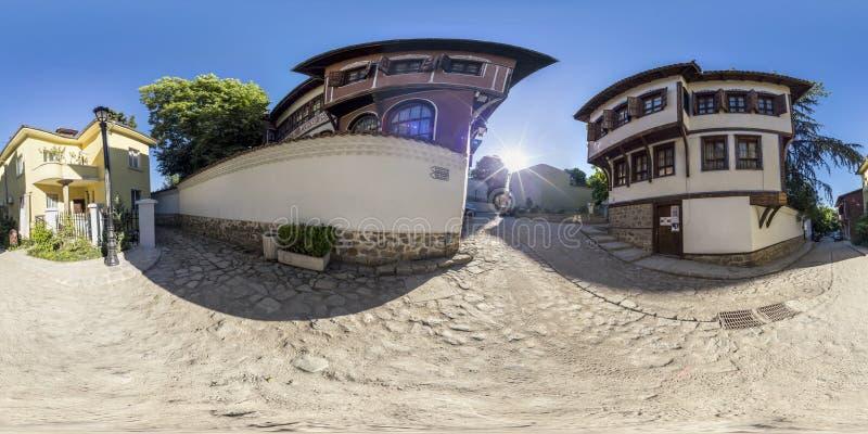 360 grados de panorama de la casa de Balabanov en Plovdiv, Bulgaria foto de archivo