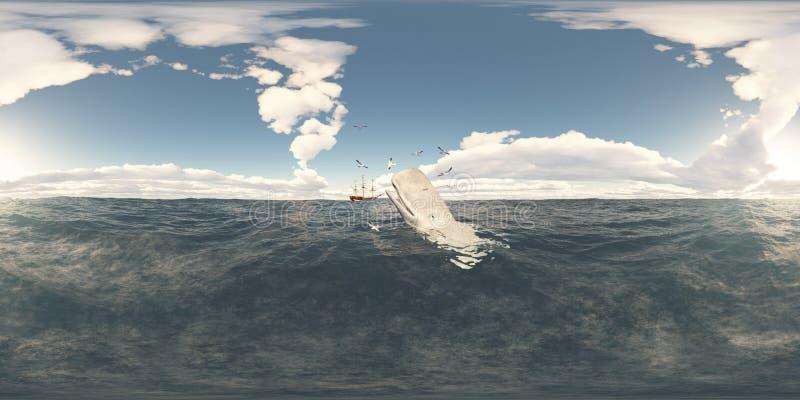 360 grados esféricos del panorama inconsútil con la ballena de esperma y la nave de caza de ballenas stock de ilustración