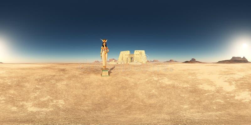 360 grados esféricos del panorama inconsútil con la diosa Hathor y el templo de Edfu en un desierto libre illustration