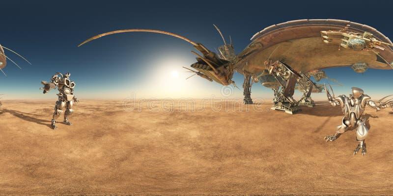 360 grados esféricos del panorama inconsútil con la nave espacial y los robots enormes en un paisaje del desierto stock de ilustración