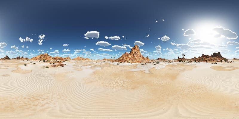 360 grados esféricos del panorama inconsútil con un paisaje del desierto stock de ilustración