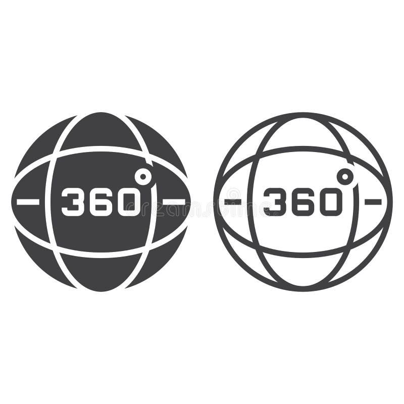 360 grados ven la línea icono, el esquema del globo y la muestra del vector del sólido, ilustración del vector