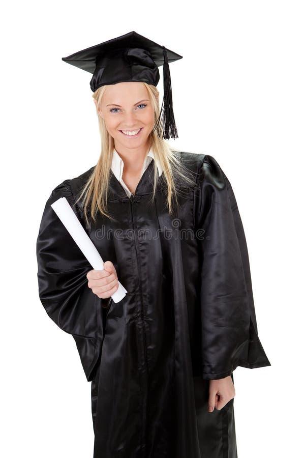 Graduação bonita do estudante fêmea foto de stock