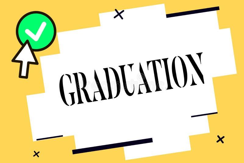 Graduação conceptual da exibição da escrita da mão Texto da foto do negócio que recebe ou que confere do diploma do grau acadêmic ilustração stock