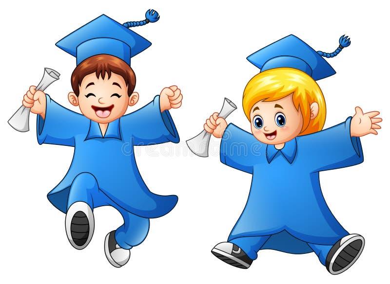 Graduação do menino e da menina dos desenhos animados ilustração do vetor