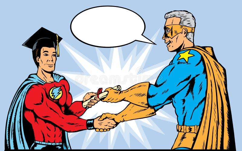 Graduação do super-herói ilustração stock