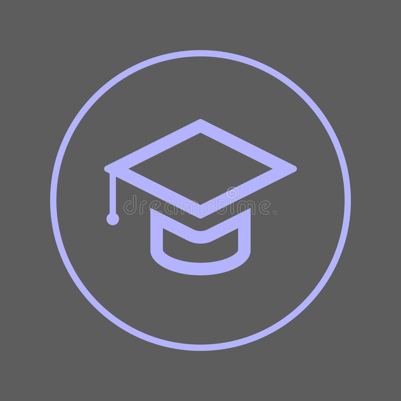 Graduação, linha circular ícone do tampão acadêmico do quadrado Sinal colorido redondo Símbolo liso do vetor do estilo da educaçã ilustração royalty free