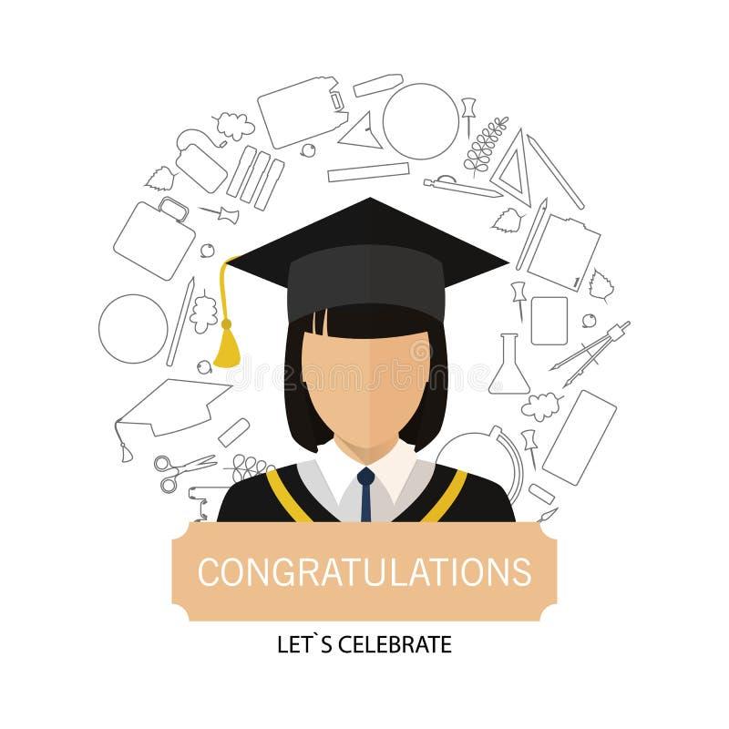 Graduação Logo Template Design Elements Menina do ícone cercada por artigos da escola ilustração royalty free