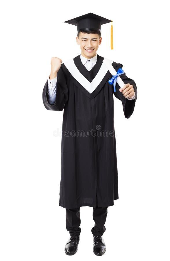 Graduação masculina nova da faculdade do comprimento completo imagens de stock